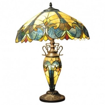 Lampe Double Tiffany Bleu & Jaune