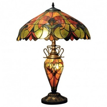 Lampe Double Tiffany Rouge et orange 68cm