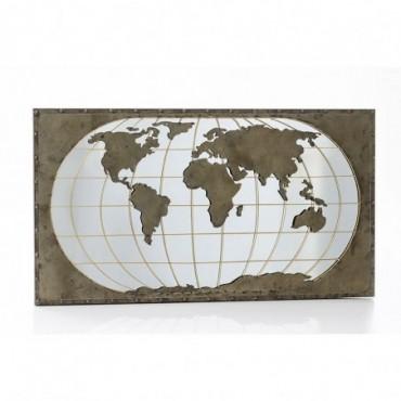 Miroir Carte Monde Métal
