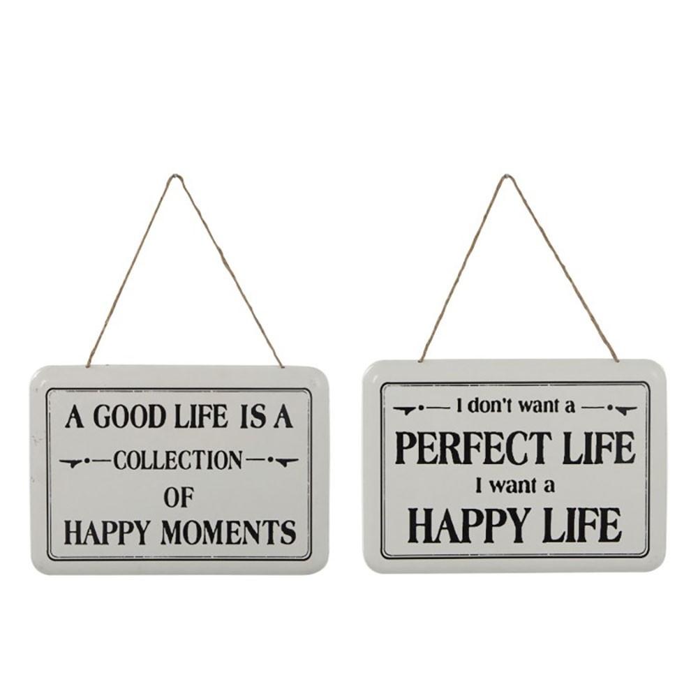 Pancarte Rectangulaire Life Blanc/Noir (Assortiment de 2)