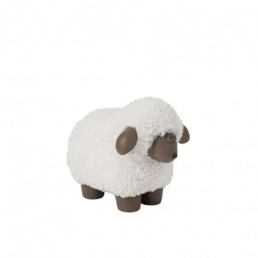 Mouton Poils Resine Blanc/Marron Small
