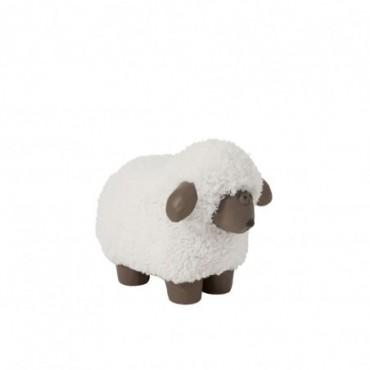 Mouton Poils Resine Blanc/Marron Small