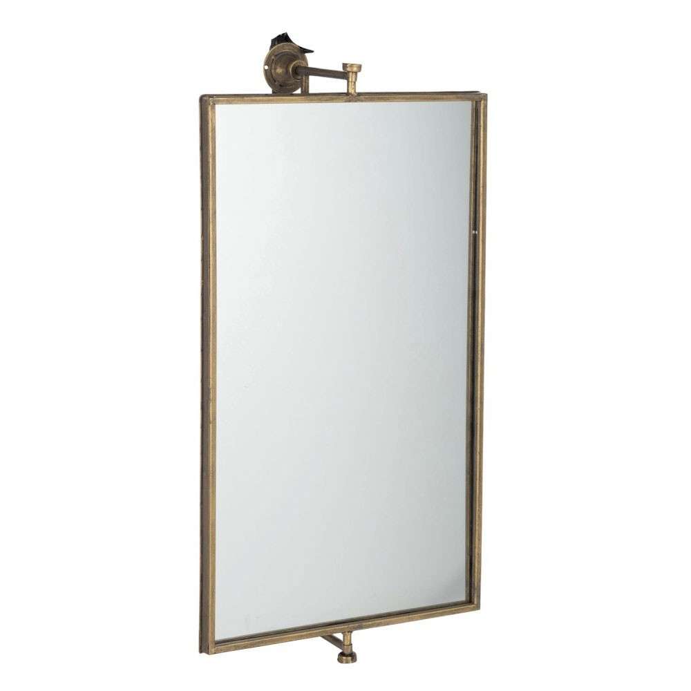 Miroir Suspendu Rectangulaire Metal/Verre Or
