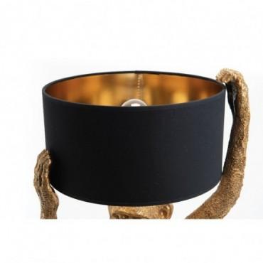 Abat-jour Cylindrique D30H15 Coton Noir / Or - E27_40W