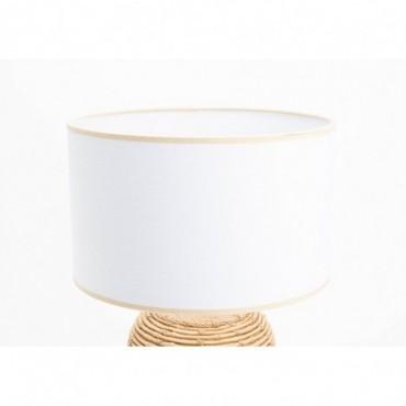 Abat-jour Cylindrique D30H18 Toile Lin Blanc - E27_40W