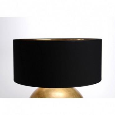 Abat-jour Cylindre Coton Noir/Or Ø55 - E27_25W