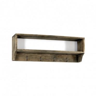 Étagère en bois avec 4 patères métalliques