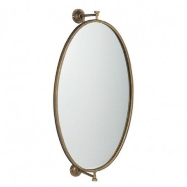 Miroir Suspendu Oval Metal/Verre Or