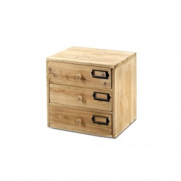 Petit classeur de 3 tiroirs en bois