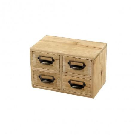 Petit trieur de 4 tiroirs de rangement en bois