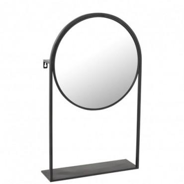 Miroir Sur Pied Metal/Verre Noir