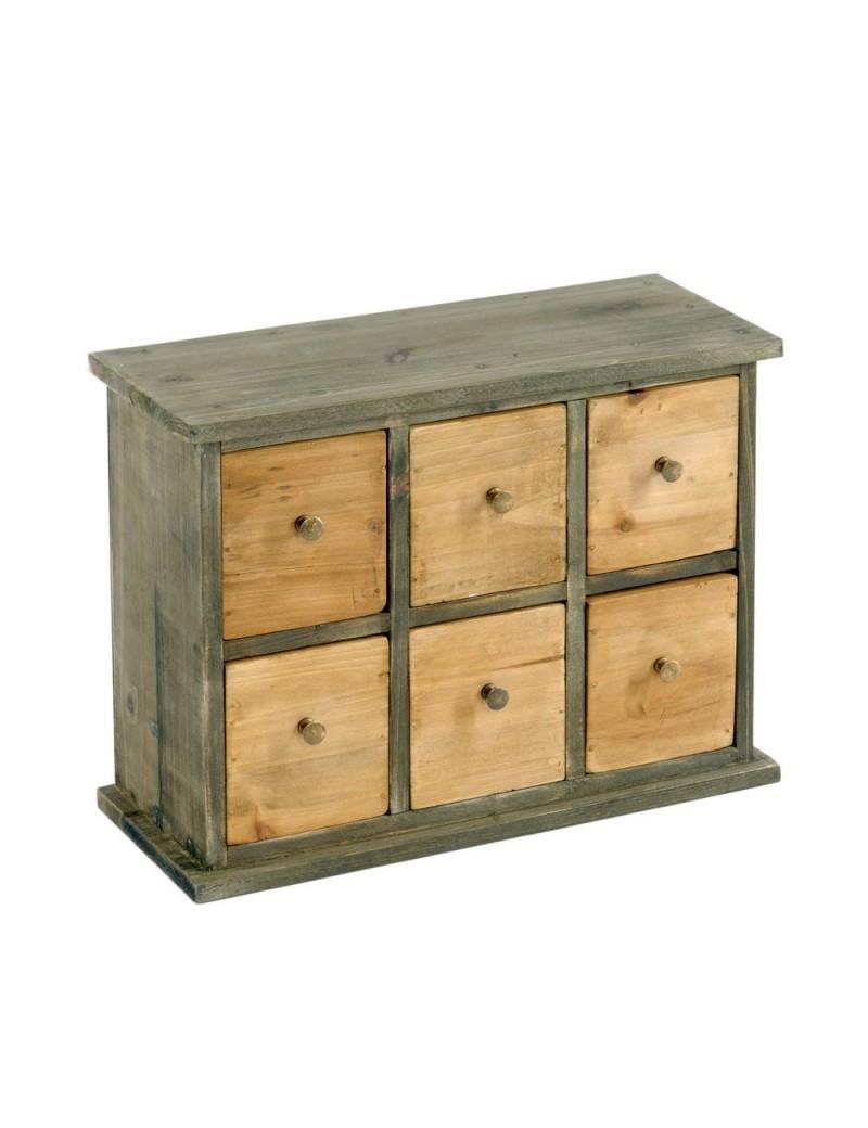 Petit meubles 6 tiroirs style cabinet