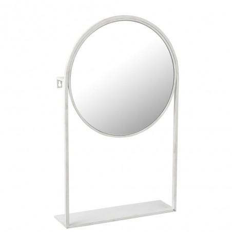 Miroir Sur Pied Metal/Verre Blanc