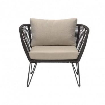 Chaise longue Mundo noir métal