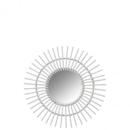 Miroir Rond Soleil Bambou Blanc