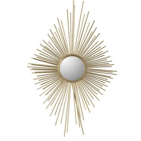 Miroir Rayons Losange Metal/Verre Or
