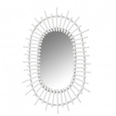 Miroir Ovale Soleil Bambou Blanc