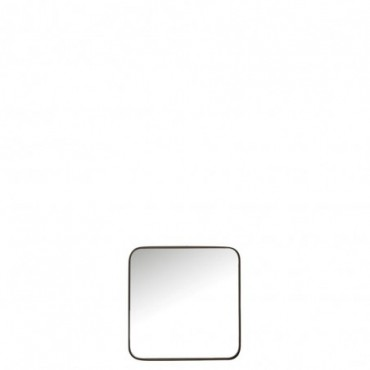 Miroir Carre Arrondi Metal/Verre Noir Small