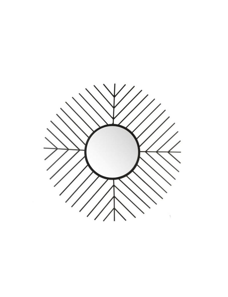 Miroir Barres Rond Metal/Verre Noir