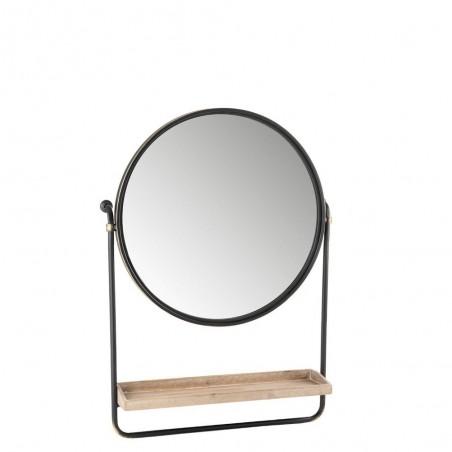 Miroir + Planche Ronde Metal/Verre Noir