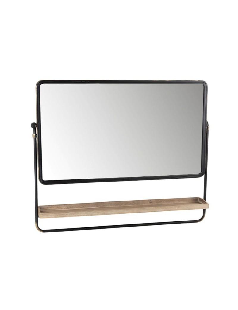 Miroir + Planche Rectangle Metal/Verre Noir