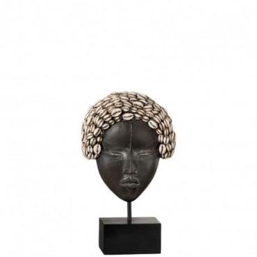 Masque Femme Africaine Sur Pied Resine Noir/Blanc Small