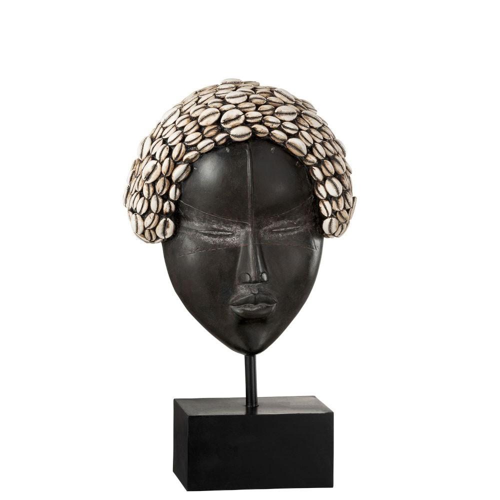 Masque Femme Africaine Sur Pied Resine Noir/Blanc Large