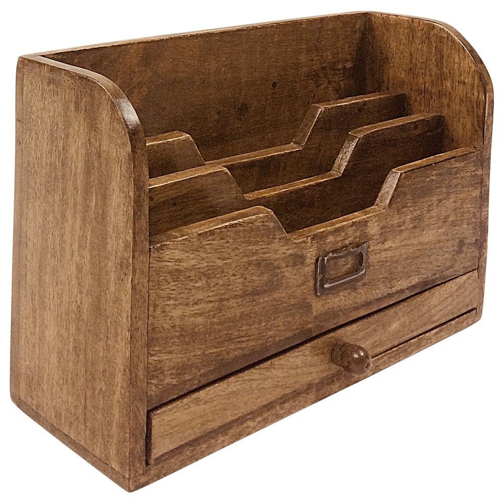 Range-lettres en bois avec tiroir