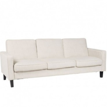 Canape Lit 3 places textile lin polyester beige clair