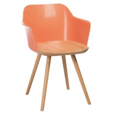 Chaise retro bois polypropylene naturel orange