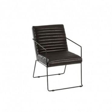 Chaise cuir metal noir