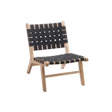 Chaise ethnique bois textile noir
