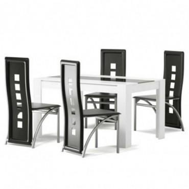 Ensemble Table À Manger Damia + 4 Chaises Blanc Et Noir Melaminé -...