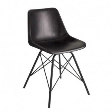 Chaise loft cuir metal noir