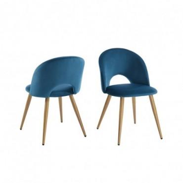 Lot De 2 Chaises Eugenie En Velours Bleu Paon