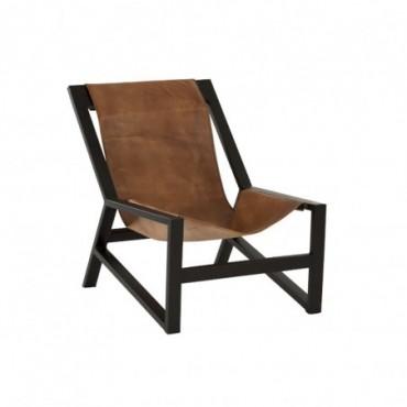 Chaise relax cuir metal cognac noir