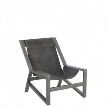 Chaise relax cuir metal gris