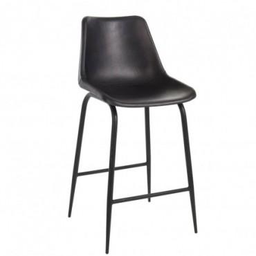 Chaise bar cuir metal noir