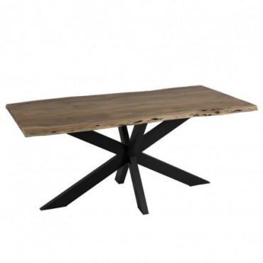Table de salon plateau irregulier metal bois noir naturel