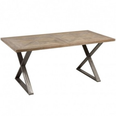 Table a manger pied croix teck metal marron