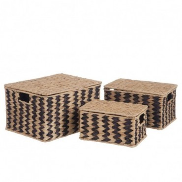 Set de 3 paniers rotin naturel noir