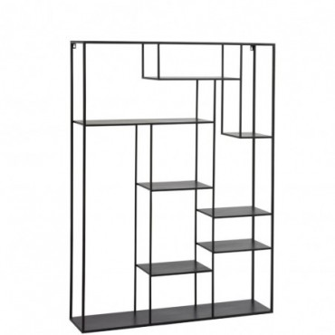 Etagere planches inegales metal noir