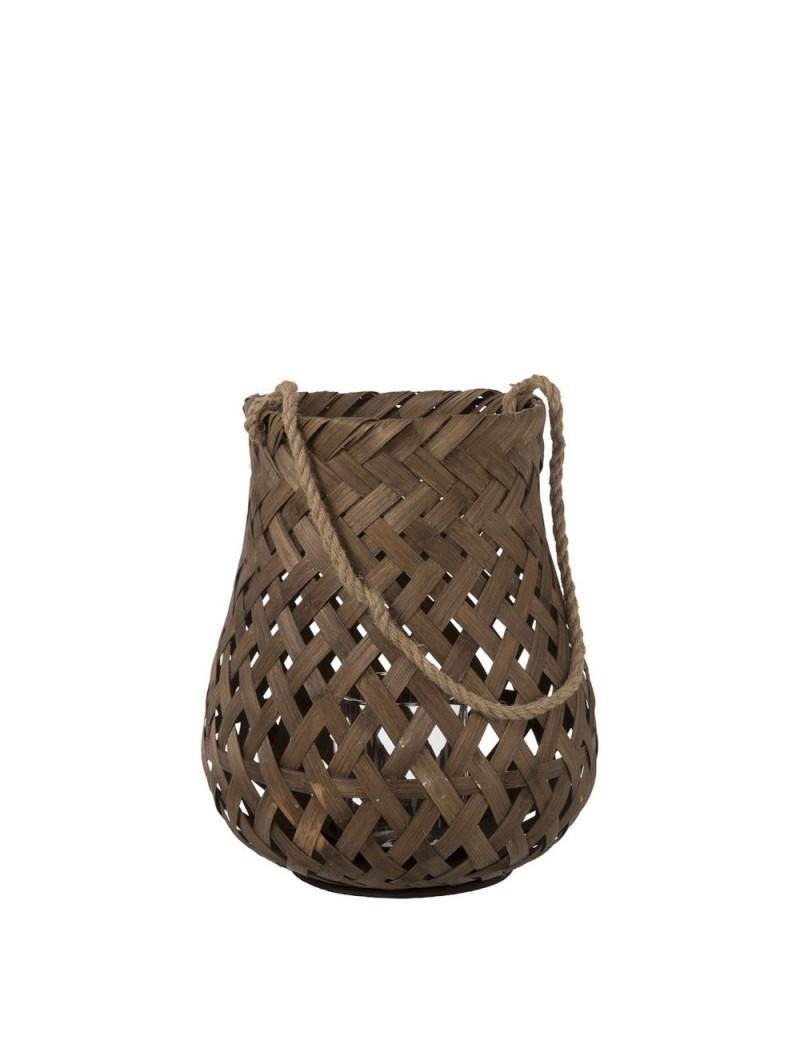 Lanterne Tressee Ronde Bambou/Verre Marron Fonce Large