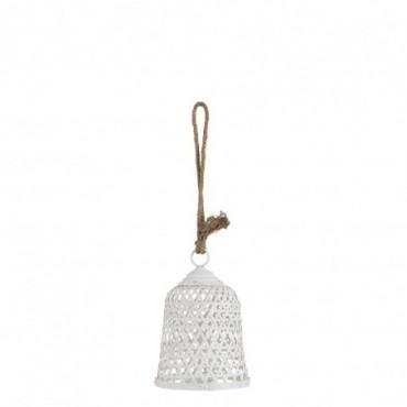Lanterne Ronde Bambou/Verre Blanc