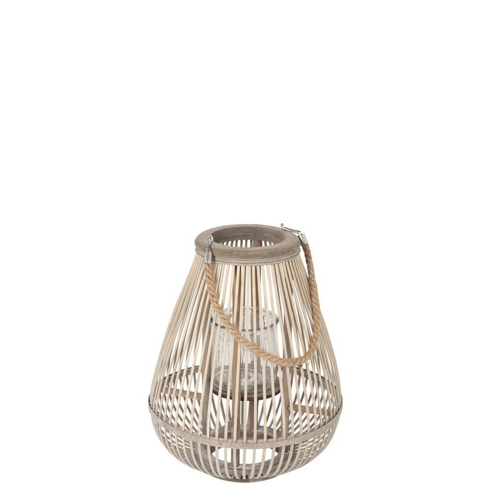 Lanterne Forme Poire Bambou Gris Medium