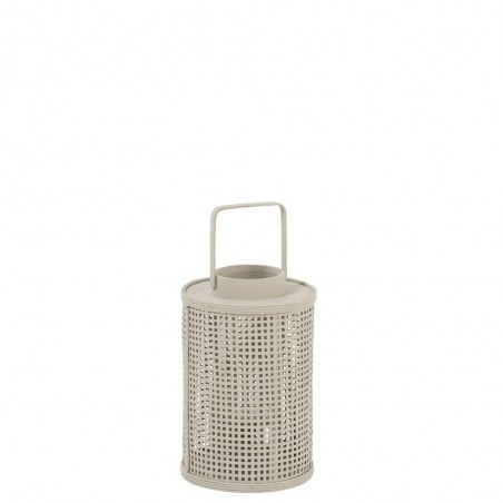 Lanterne Grillage Ronde Bambou/Verre Beige Small