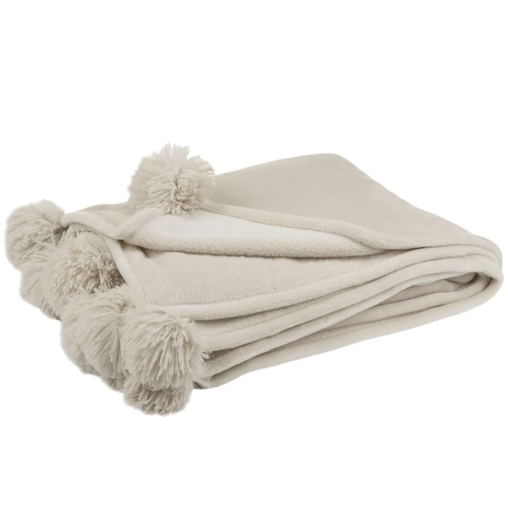 Plaid pompon polyester beige menthe