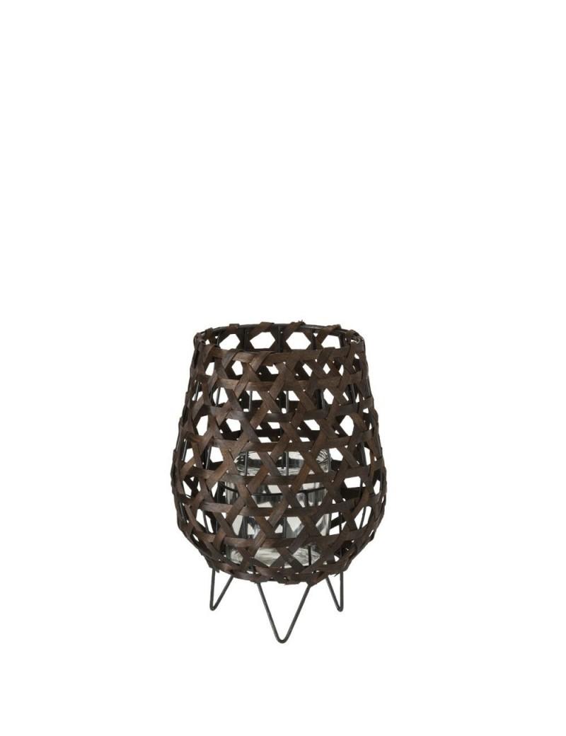 Lanterne Forme De Vase Bois Marron Small