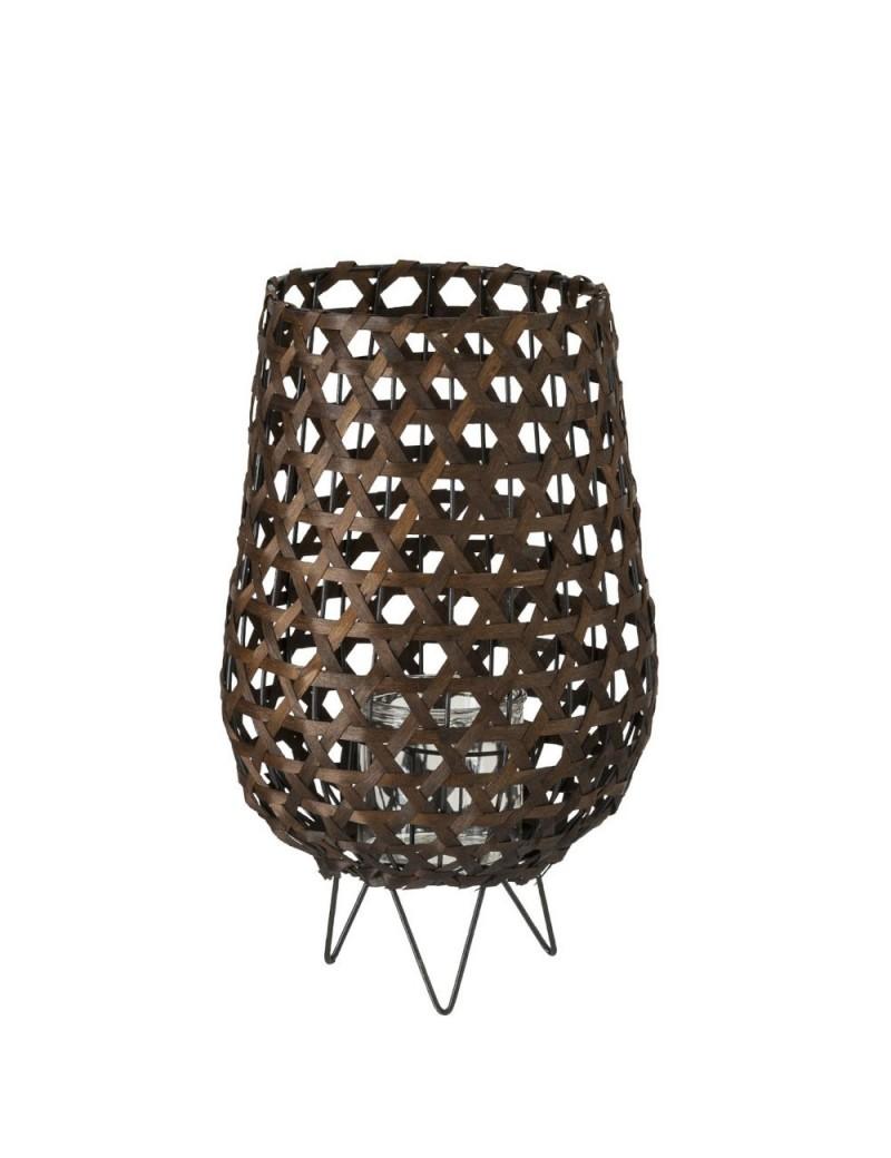 Lanterne Forme De Vase Bois Marron Large