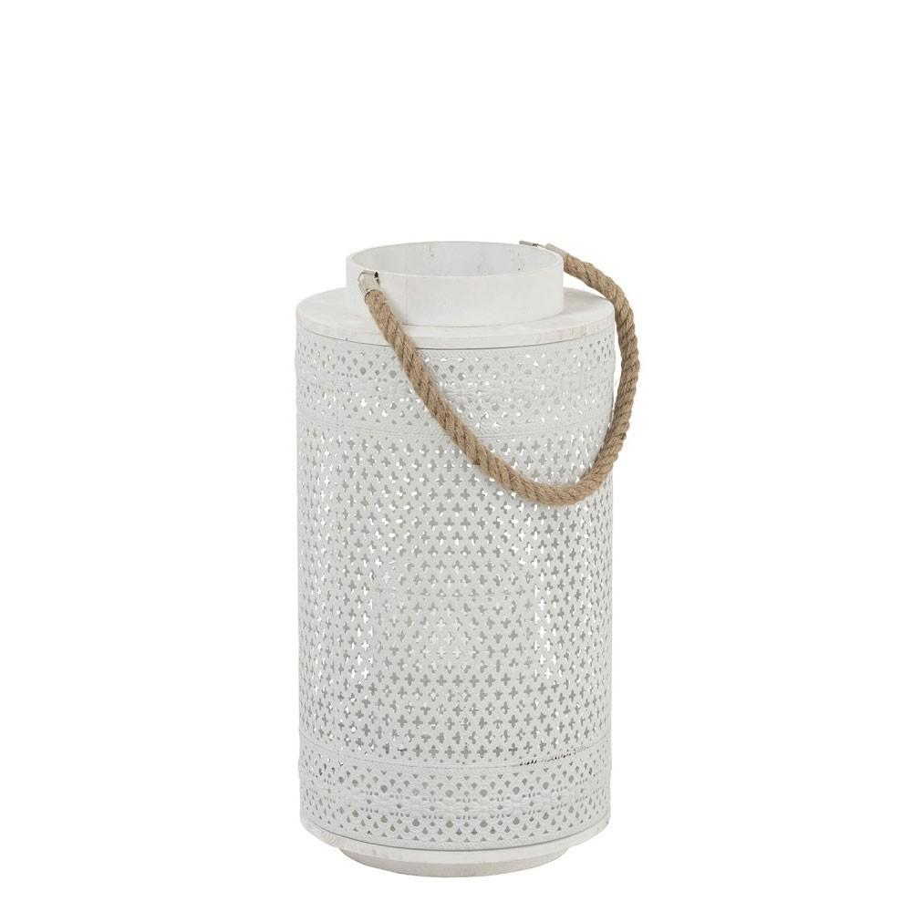 Lanterne Cylindrique Orientale Metal/Verre Blanc/Naturel